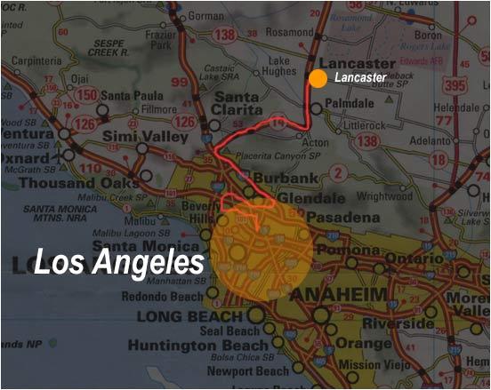 Carte de Los Angeles à Lancaster