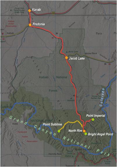 carte de Kanab à North Rim