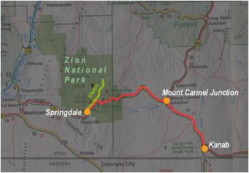 Carte de Kanab à Springdale