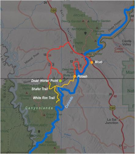 carte de Moab à Canyonlands