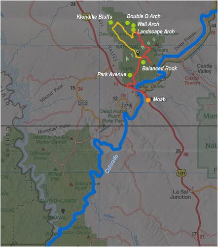 Carte de Moab à Arches NP