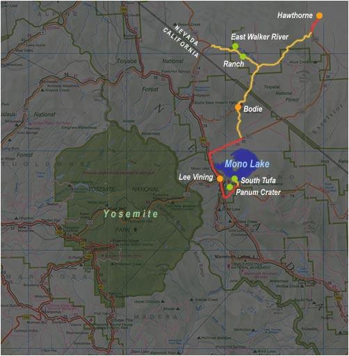 carte de Hawthorne à Lee Vining