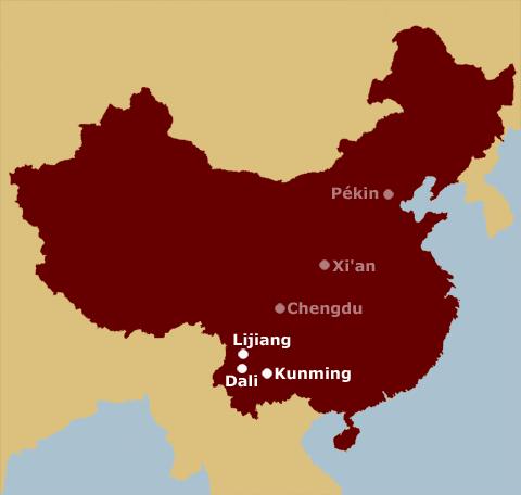Lijiang, Dali, Kunming sur une carte de Chine