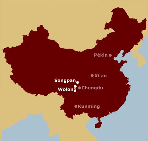 Wolong sur carte de chine